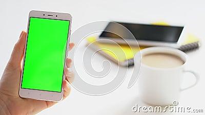 Geschäftsfrau, die Smartphone mit grünem Bildschirm auf dem Handy surfen Chroma-Taste online beobachten Spaß stock video footage