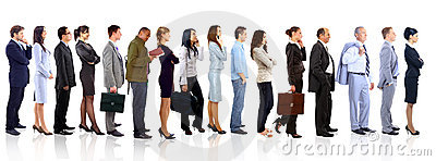 Geschäftsfrau und ihr Team über einem weißen Hintergrund