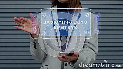 Geschäftsfrau wirkt Cyber-körperliche Systeme HUD-Hologramms aufeinander ein lizenzfreie abbildung