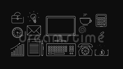 Geschäftsikonen auf einem schwarzen Hintergrund 2d Animation stock video footage