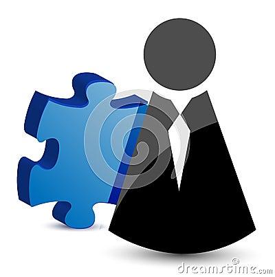 Geschäftsikonen- und -puzzlespielstück