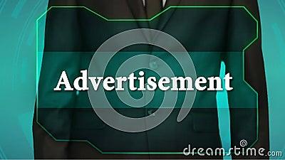 Geschäftsmann-Stoßrückseitenknopf auf Touch Screen Aufschriftanzeige stock footage