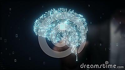 Geschäftsmann-wachsen rührender Gehirn-CPU Chip, künstliche Intelligenz