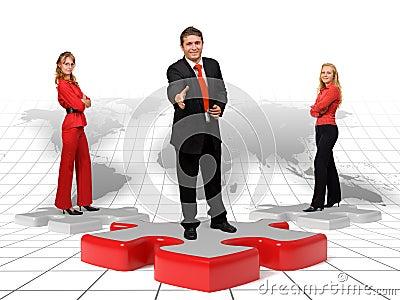 Geschäftsteam und Lösungen - Welt