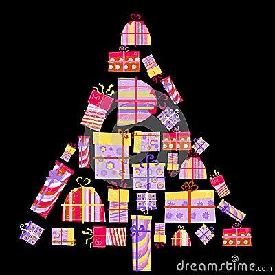 Geschenkkästen in der Form des Baums