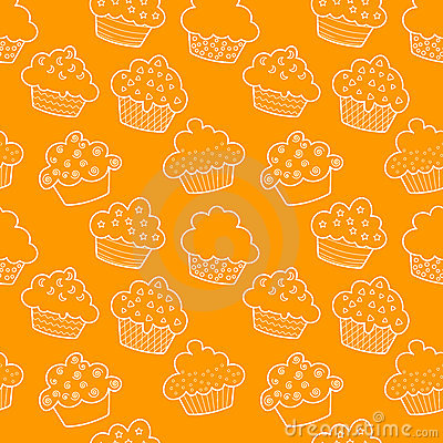 Geschetst naadloos cupcakes