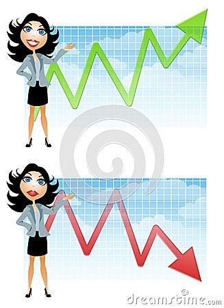 Geschäftsfrau und Verkaufs-Diagramme