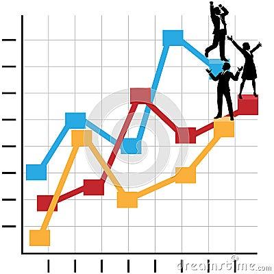 Geschäftsleute feiern Erfolg auf Diagramm