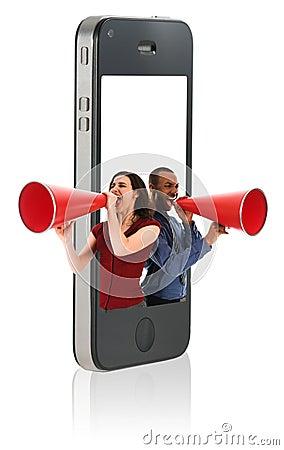 Geschäftsleute mit Megaphonen