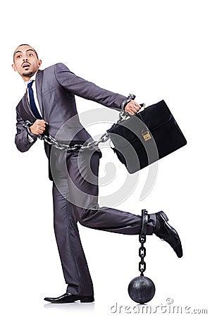 Geschäftsmann mit Fesseln