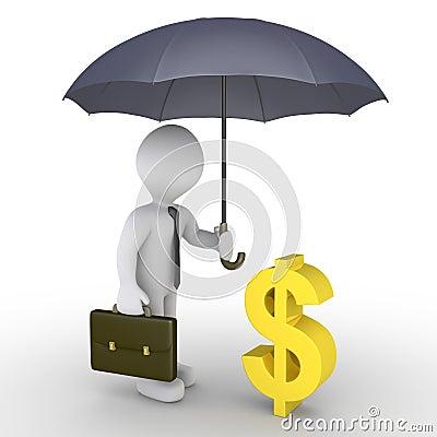 Geschäftsmann mit schützendem Dollar des Regenschirmes