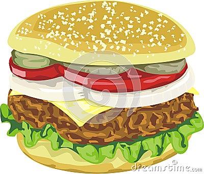 Geschmackvoller saftiger Hamburger