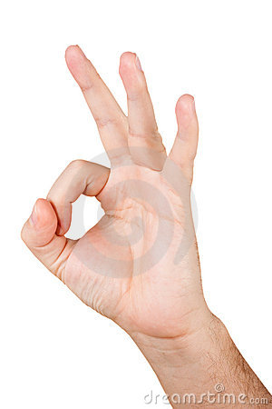 Gestikulieren des Hand-O.K.S