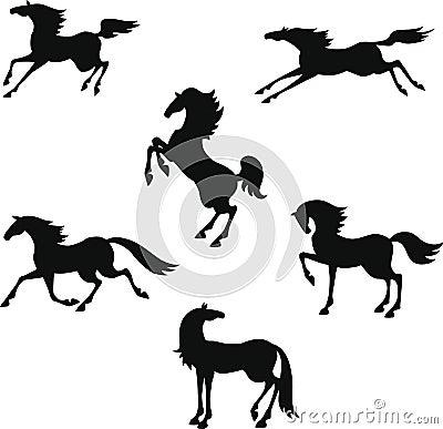 Gestileerd silhouet van paarden
