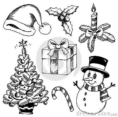 Gestileerde Tekeningen 1 Van Kerstmis Stock Foto S