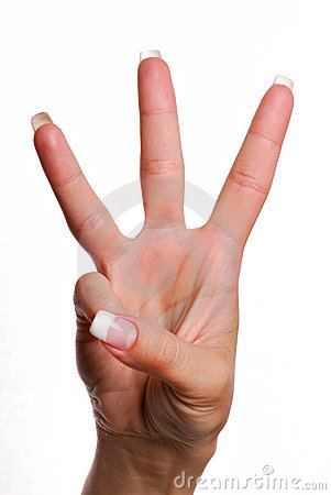 Free Gesture Number Three. Royalty Free Stock Images - 2448399