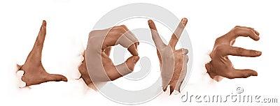 Gestures of hands. Love of men