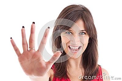 Gesturing стоп знака девушки