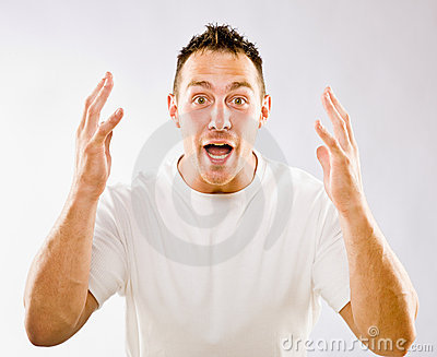Gesturing сярприз человека