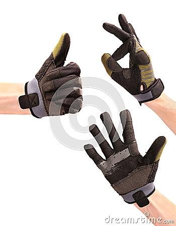 Gesturing hands in sport wear