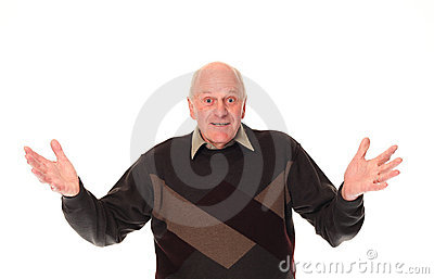 Gesturing senior older man