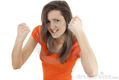 Gesturing young long hair woman