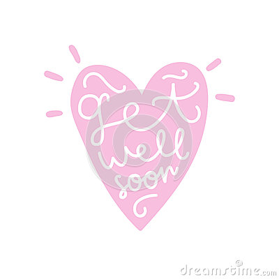 Get well soon. Heart silhouette with text. Vector Illustration