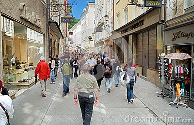 Getreidegasse in Salzburg Editorial Stock Image