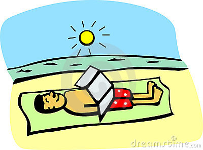 Getting a tan in the beach vector illustration