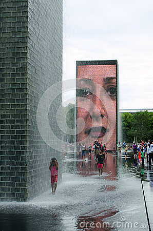 Getting wet at Crown fountain in millennium park Editorial Stock Photo