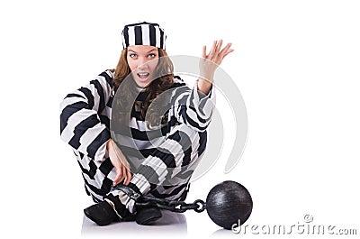 Gevangene in gestreepte eenvormig