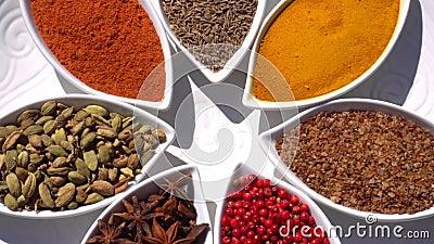 gew?rze Verschiedener Inder Gew?rz und Kr?uter drehen sich Zusammenstellung von Gew?rzen, W?rzen Kochen von Bestandteilen, Aroma  stock video