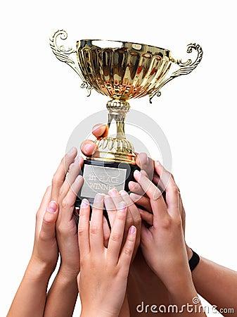 Gewinnendes Cup der Leuteholding