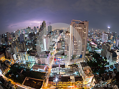 Gewitter-Bangkok-Stadt-Ansicht (fisheye) Thailand