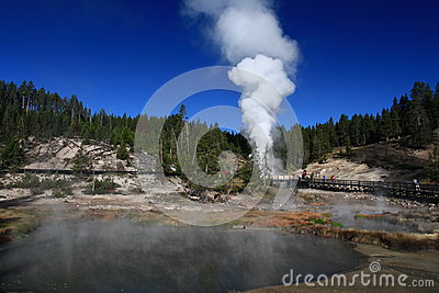 Geyser erupting in Yellowstone
