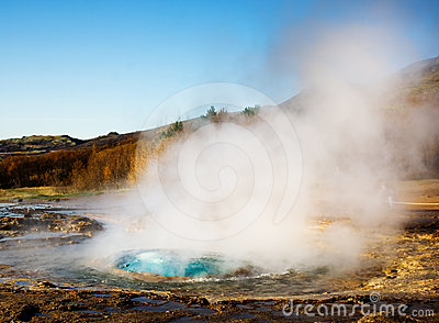 Geyser eruption, Iceland