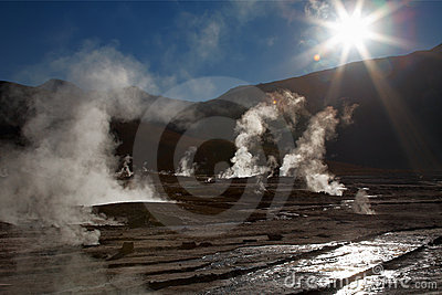 Geyser field El Tatio in Atacama region