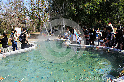 The geyser in the north of Thailand Editorial Photo