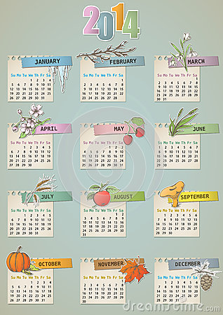 Gezeichneter Kalender der Weinlese Hand