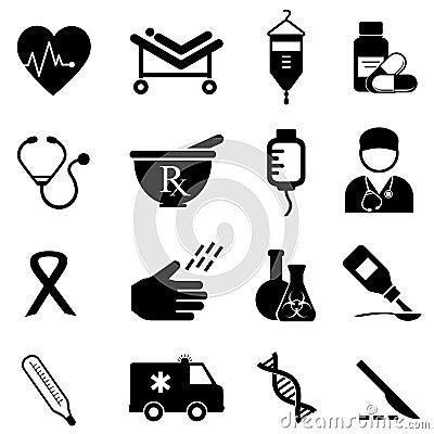 Gezondheid en medische pictogrammen