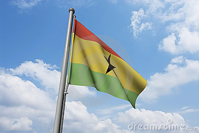 Ghana Flag with Clouds