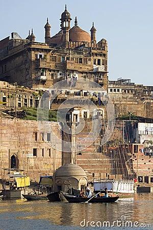 Ghats ινδή Ινδία Varanasi Εκδοτική εικόνα