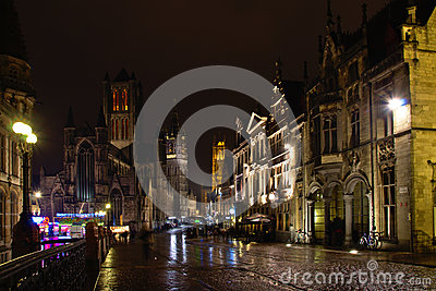 Ghent historical centre by night