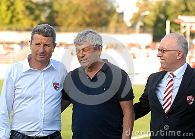 Gheorghe Multescu, Mircea Lucescu and Costel Anghelache in Dinamo Bucharest-Shaktar Donetk Editorial Stock Image
