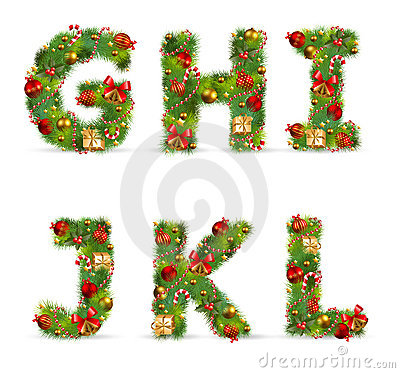 GHIJKL,  christmas tree font