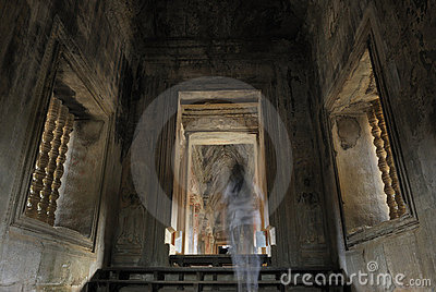 ghost in Angkor Wat, Cambodia