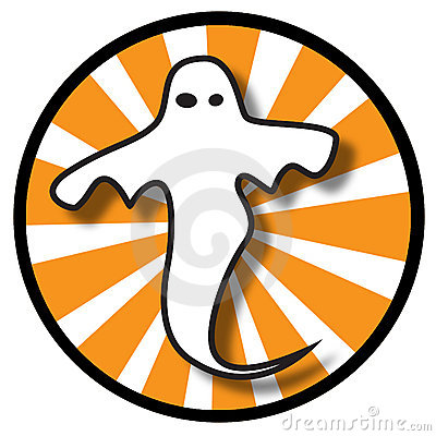 Ghost icon with orange rays