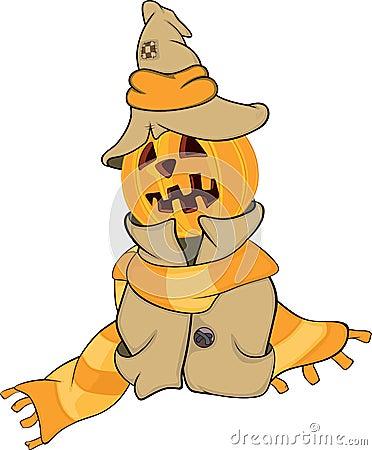 Ghost and a pumpkin cartoon