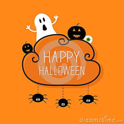 Free Ghost, Pumpkin, Eyeball, Three Hanging Spiders Royalty Free Stock Image - 59501516