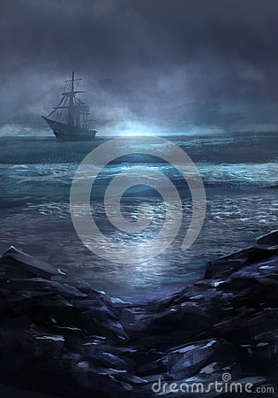 Free Ghost Ship. Royalty Free Stock Image - 57887036